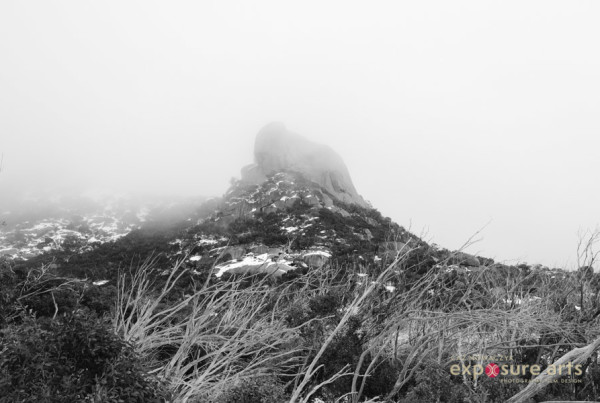Cathedral Rock and the Hump Mt Buffalo in Winter 2017 - Misty - by Caz Nowaczyk
